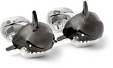 Deakin & Francis - Shark Sterling Silver, Enamel And Diamond Cufflinks