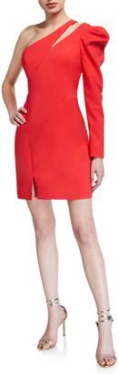 Aidan Mattox One-Shoulder Single Balloon-Sleeve Crepe Dress