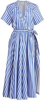 Rosie Assoulin Blue Striped Jump Skort Dress