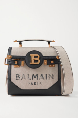 Balmain B-buzz 23 Textured Leather-trimmed Printed Canvas Shoulder Bag - Beige