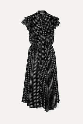 Michael Kors Ruffled Polka-dot Silk-georgette Midi Dress - Black