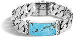 John Hardy Men's Classic Chain 16.5MM Station Bracelet, Sterling Silver with Natural Arizona Turquoise