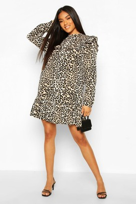 boohoo Leopard Print Ruffle Detail Drop Hem Shift Dress