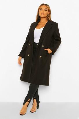 boohoo Plus flannel Double Breasted Boyfriend Wool Look Coat