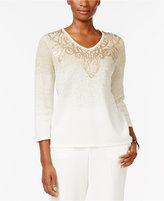 Alfred Dunner Embellished Ombré Sweater