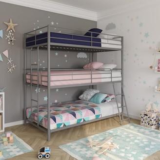 DHP Metal Triple Bunk Bed, Twin/Twin/Twin, Silver