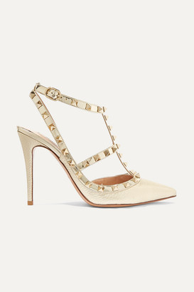 Valentino Garavani Rockstud Metallic Textured-leather Pumps - Gold