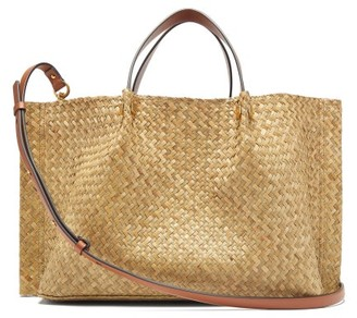Valentino Escape V-logo Medium Raffia Tote Bag - Womens - Beige Multi