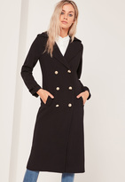 Missguided Lightweight Military Trench Coat Black