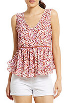 Copper Key Floral Printed Ruffle Hem Babydoll Top