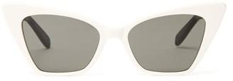 Saint Laurent Victoire Sharp Cat-eye Sunglasses - Womens - White Multi