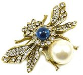 Kenneth Jay Lane Crystal, Pearl & Sapphire Gold Plated Bee Brooch Pin