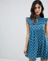 Motel Sleeveless Tea Dress With Collar In Vintage Spot