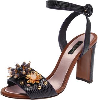 Dolce & Gabbana Purple Lizard Embossed Leather Crystal Embellished Ankle Strap Sandals Size 38