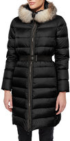 Moncler Fabrefox Fur-Trim Puffer Coat with Belt