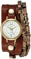 La Mer Women's Quartz Gold-Tone and Leather Watch, Color:Brown (Model: LMDEL1010)