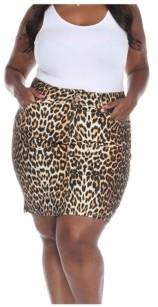 White Mark Plus Size Printed Skirt