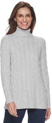 Croft & Barrow Women's All Over Cable T-Neck Pullover