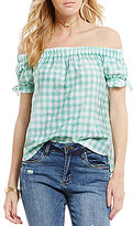 Moa Moa Gingham Off-the-Shoulder Tie-Sleeve Top