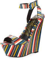 Lust for Life Amp Striped Wedge Sandal, Multi Pattern