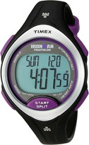 Timex Ironman Road Trainer Heart Rate Monitor Black/Silver-Tone/Purple Resin Strap Watch
