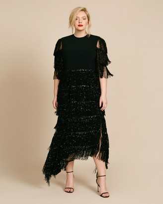 Christian Siriano Sequin Fringe Asymmetrical Hem Dress