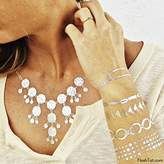 Flash Tattoos Lena Authentic Metallic Temporary Jewelry Tattoos 4 Sheet Pack (Metallic Gold/silver) Includes over 50 assorted premium modern waterproof tattoos