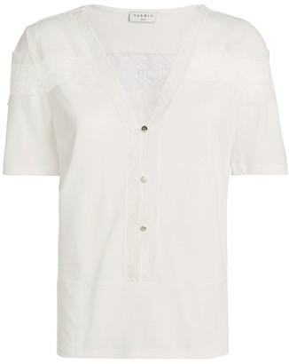 Sandro Paris Guipure Lace Insert Shirt