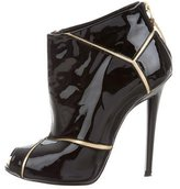 Roger Vivier Patent Leather Peep-Toe Booties