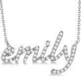 Allurez Ladies Personalized Name Pendant w/ Diamond Accents Lowercase Script Font Letters 14k White Gold