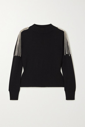 Christopher Kane Cropped Chain-embellished Merino Wool Sweater - Black