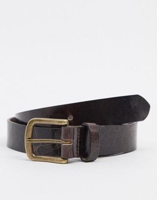 ASOS DESIGN leather slim belt in brown with vintage gold buckle