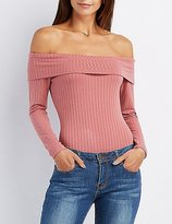 Charlotte Russe Ribbed Off-The-Shoulder Bodysuit
