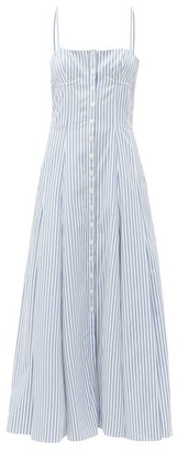 Gabriela Hearst Prudence Striped Cotton Midi Dress - Blue White