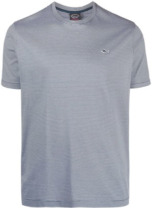 Paul & Shark Logo-Patch Stripe-Print T-Shirt