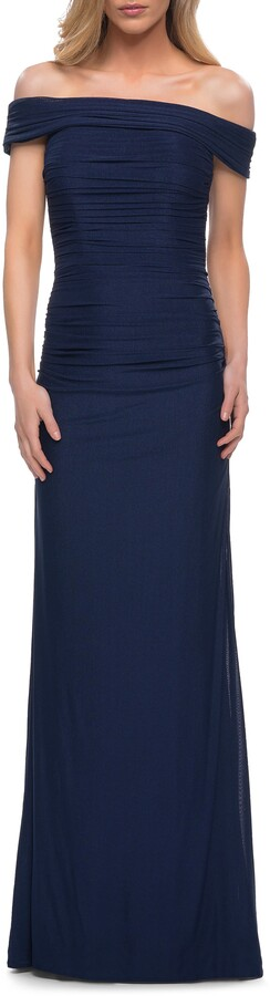 Thumbnail for your product : La Femme Off the Shoulder Ruched Jersey Trumpet Gown