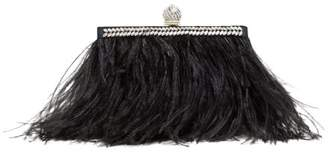 Jimmy Choo Celeste Crystal-embellished Feather Clutch - Womens - Black