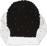 Jennifer Behr Ladies Black Knitted Luxurious Pearl Voilette Beanie