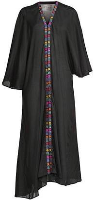 Pitusa Embroidered-Trim Kimono