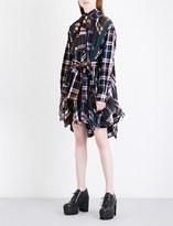 Sacai Pleated cotton-flannel mini dress