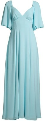 Fame & Partners The Madelyn Puff-Sleeve Georgette Gown