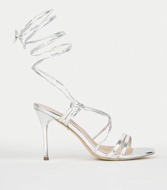 New Look Metallic Ankle Tie Stiletto Heels