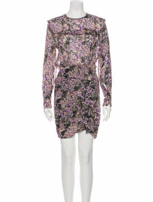 Isabel Marant Floral Print Mini Dress Purple