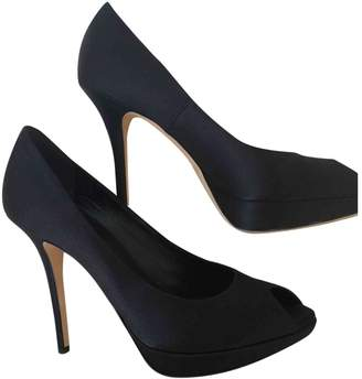 Christian Dior Miss Peep Toes Black Cloth Heels
