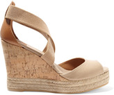 Tory Burch Canvas, leather and cork wedge sandals
