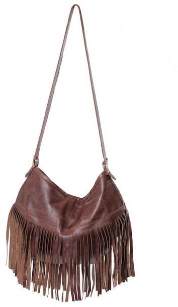 JJ Winters Leather Fringe Handbag in Distressed Brown