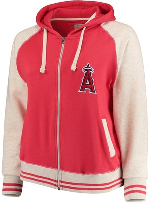 Unbranded Women's Soft as a Grape Red/Cream Los Angeles Angels Plus Size Varsity Raglan Full-Zip Hoodie