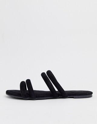 Glamorous multi strap flat sandals-Black