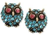 Betsey Johnson Gold-Tone Blue Pavé Owl Stud Earrings