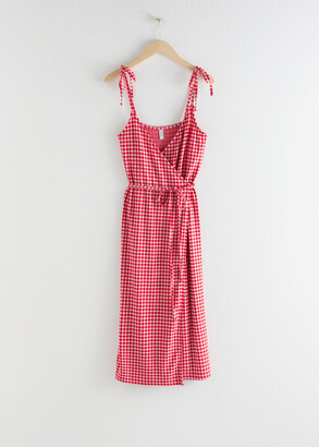 And other stories Tie Shoulder Gingham Midi Dress